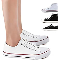 ZGRZGR Canvas Sneaker Low cut Season Lace Ups Shoes Casual Trainers for Women and Teenager White US8