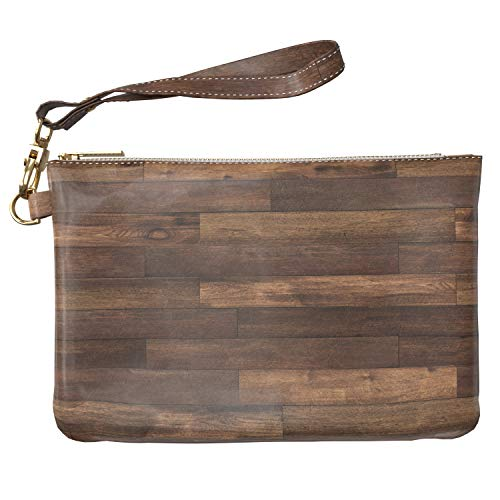 Lex Altern Makeup Bag 9.5 x 6 inch Wood Parquet Pattern Flooring Texture Classy Purse Pouch Cosmetic Travel PU Leather Case Toiletry Women Zipper Bathroom Storage Wristband Girly Accessories Design