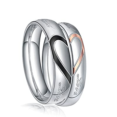 """TIGRADE Jewelry Heart Shape """"Real Love"""" Couples Matching Stainless Steel Wedding Band Set Ring 4mm/5mm, Sizes 4.5-15"""