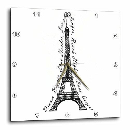 3dRose dpp_165895_1 Paris Dream Bigger Inspirational Design Wall Clock, 10 by 10-Inch, Black/White