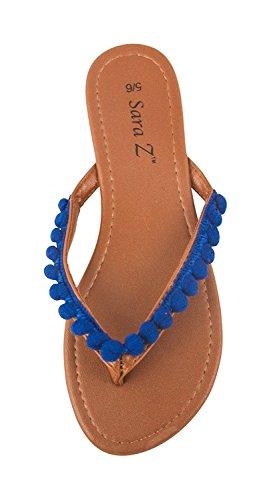 Chatties Ladies Pom Pom Thong Sandal Cobalt qwCCnWU
