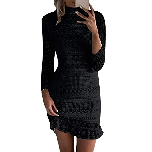 Shyby Dress, New Summer White Midi Dress Womens Sexy Lace Bodycon Cocktail Ladies Party Pencil Dress Bandage Dresses (L, Black)