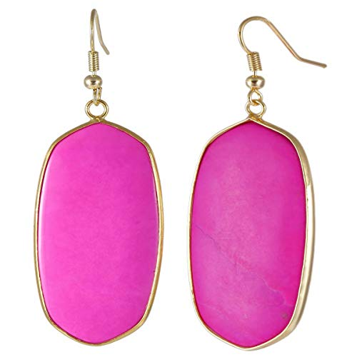TUMBEELLUWA Crystal Quartz Stone Dangle Hook Earrings Oval Gold Plated, Fuchsia Howlite Turquoise