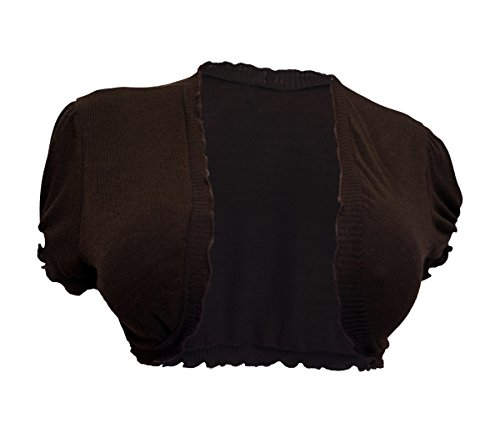 EVogues Plus size Ruffled Trim Open Front Cropped Bolero Shrug Brown - 2X