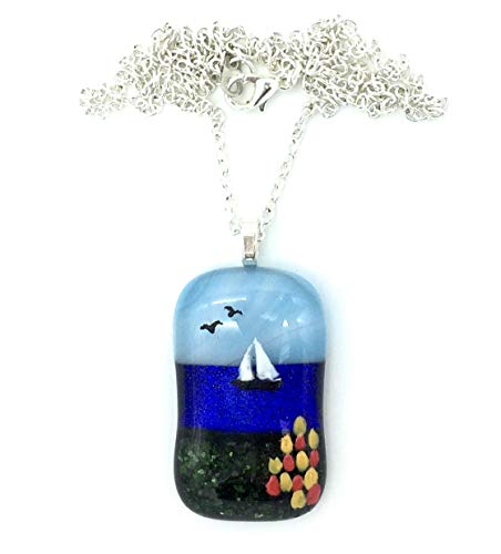 Tulips by the Bay with Sailboat and Sea Birds Hand Painted Fused Dichroic Art Glass Pendant