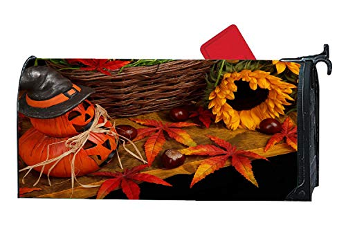 Halloween Autumn Pumpkin Lamp Sunflower Maple Leaf Mailbox Magnetic Cover Standard Capacity Post Box Covers Size 6.5 x 19 Inches -
