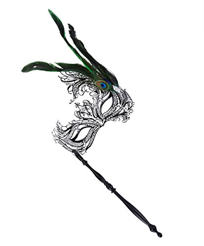 [Coxeer Masquerade Mask on Stick Halloween Metal Laser Cut Mask Carnival Mask] (Feather Mask With Stick)