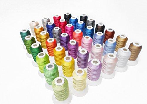 simthread 40Spule Polyester Stickerei Maschine Gewinde Set Brilliant Farben für Home, 500m/Spule
