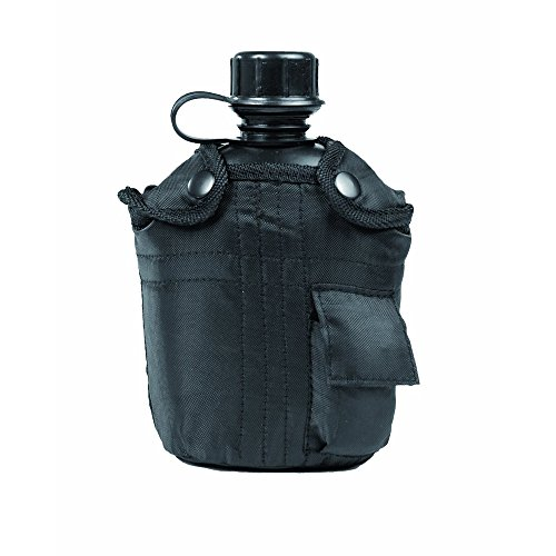 Miltec 1L Canteen with Protective Cover (Black) (Covers Canteen Type)