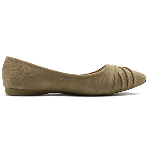 Faux Ollio Pointed Suede Shoe Pleated Ballet su Flat Women's Toe Dress Beige rqIqaR
