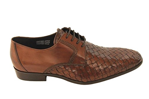 Calzoleria Toscana Mens Woven Derby Shoes Leather Mahogany Made in Italy gUaDx5c