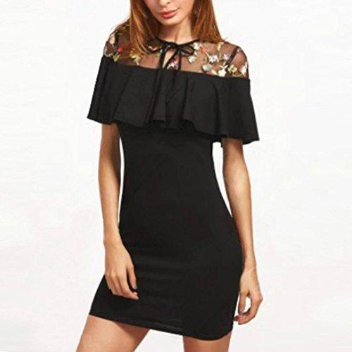 Women Spring/SummerFloral Embroidered Ruffles Party Dress Short Mini Dress (Black, S)