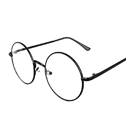 - Stuffwholesale Vintage Clear Lens Round Circle Eye Glasses Metal Frame 5.42inch (Black Frame)