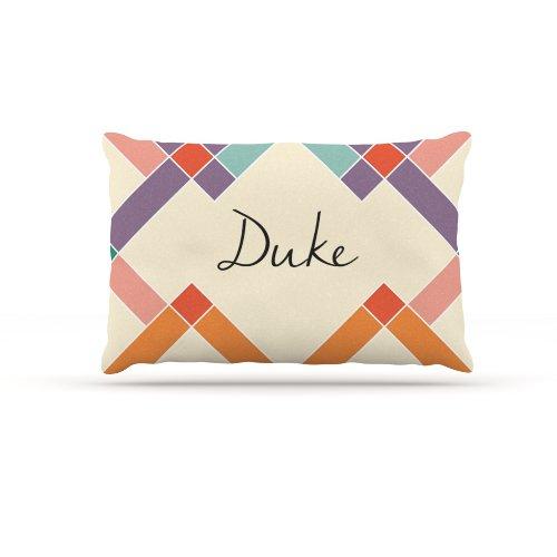 Kess InHouse ''Duke'' Colorful Geometry Name Fleece Dog Bed, 30 by 40-Inch, Rainbow/Tan by Kess InHouse