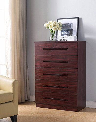 Eltra K Series Smart Home 5 Drawers Chest Dresser (Mahogany w Handlebars) Small Mahogany 3 Drawer Chest