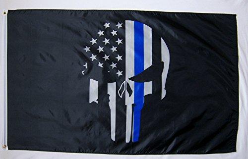 Demon Skull Police Memorial USA Flag 3' X 5' Indoor Outdoor