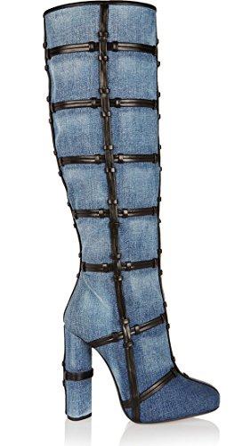Zipper Fashion Boots Women's Heel Canvas Chunky TDA Blue PvSqwAZ