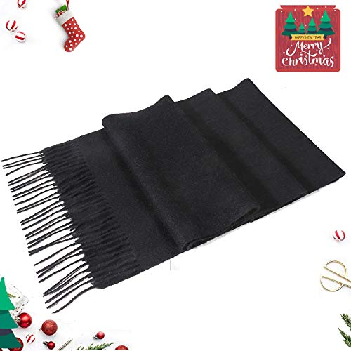 "i+k 100% Pure Merino Lambswool Plaid Scarf for Women - Soft Wool Fashion Long Winter Warm Wrap with Gift Box (70.9""11.8"", Solid Black)"