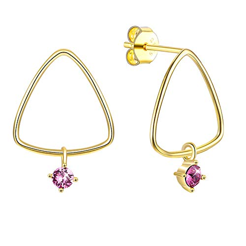 QTRESOR Sterling Silver 18K Gold Plated Triangle Drop Dangling Stud Earrings Embellished with Crystals from Swarovski, Earrings Gifts for Women