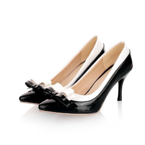 Charm Foot Womens Fashion Bows High Heel Stiletto Mary Jane Pump Pointed Shoes