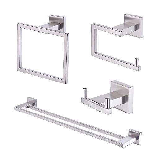 - Kes Bathroom Accessories Set SUS 304 Stainless Steel 4-Pieces Including Double Towel Bar Toilet Paper Holder Towel Ring Robe Hook Brushed Finish Wall Mount No Drill Self Adhesive Glue, LA242DG-43