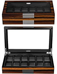 Lifomenz Co 12 Watch Box for Men Watch Display Case Wood Luxury Watch Box with Large Glass Window,Watch Organizer Box with Ultra Smooth PU Leather Interior