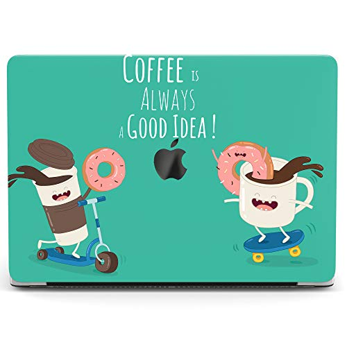 Wonder Wild Case For MacBook Air 13 inch Pro 15 2019 2018 Retina 12 11 Apple Hard Mac Protective Cover Touch Bar 2017 2016 2015 Plastic Laptop Print Funny Coffee Cute Doughnut Mint Food Cake Cup Green -