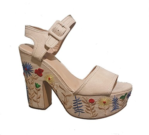 Beige Women's Heel Platform Flower Wild Jacobies Embroider ZBSwpZYAq