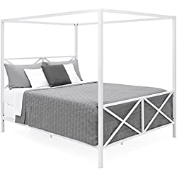 Best Choice Products Modern 4 Post Canopy Queen Bed w/Metal Frame, Mattress Support, Headboard, Footboard - White
