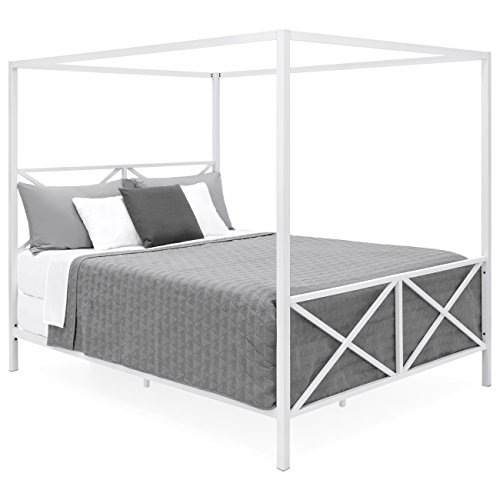 Best Choice Products Modern 4 Post Canopy Queen Bed w/Metal Frame, Mattress Support, Headboard, Footboard - White ()