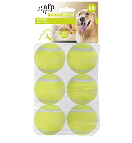 All For Paws Interactive Hyper Fetch Super Bounce Tennis Balls Dog Toy, Pet Safe Toys for Exercise and Training, 2 Inch Diameter (6 pack)