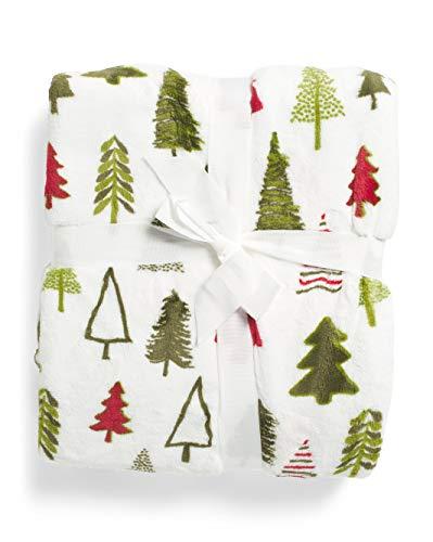Thro Luxury Plush Fleece Throw Blanket Toss Red Green White Evergreen Christmas Tree Pattern - Seasonal Trees (Marlo Christmas Lorenz)