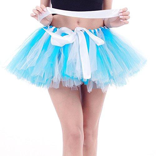 Diamondo Femmes Tulle Danse Tutu Empilements Ballet Bowknot Mini Jupes (blanc Bleu)