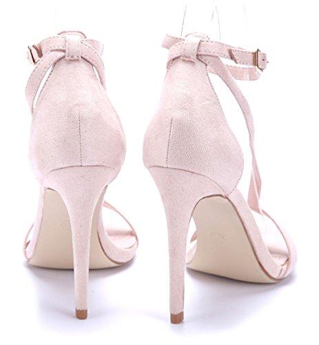 Schuhtempel24 Damen Schuhe Sandaletten Sandalen Stiletto 11 cm High Heels Beige
