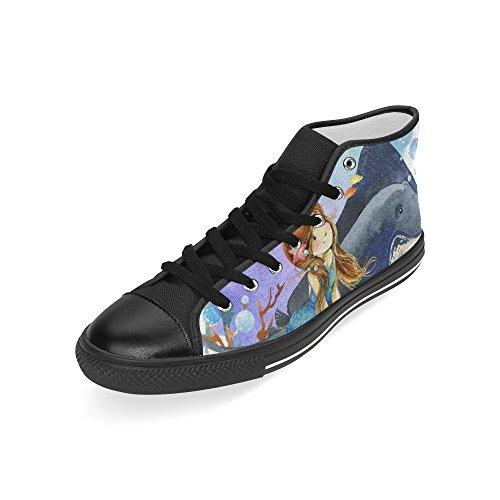 D-histoire Personnalisé Sirène Et Poissons Corail Reef Mens Haut Classique Chaussures De Toile Haut De La Mode Sneaker