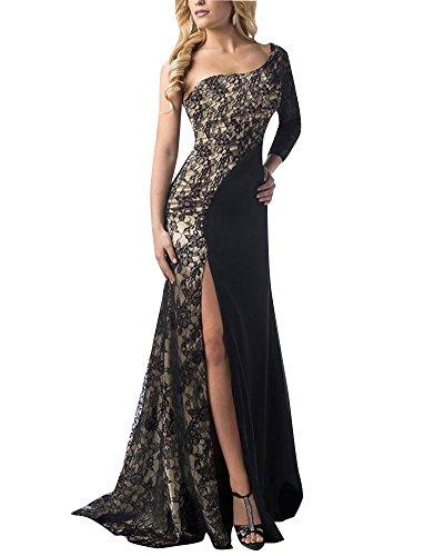 De Fiesta Negro Elegante Vestidos Noche Hombro Largos Fiesta Mujer para Bodas DianShao Un qw1ERZ1