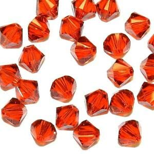 Steven_store SCB5136 Indian Red 6mm Faceted Xilion Bicone Swarovski Crystal Beads 24pc Making Beading Beaded Necklaces Yoga Bracelets ()