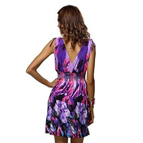 Violet Chic Femme Neck Floral V Party Femmes Courte Robe Manadlian Femme Robe Sexy Beach Strappy Mini Robe Deep t qIw5U