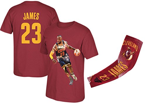 James Red Basketball Lebron T-Shirt Jersey Style Kids Youth Sizes Premium Quality Gift Set with Shooter Arm Sleeve (YL 10-13 Years, Gift Set) (Lakers Jersey La Shirt)