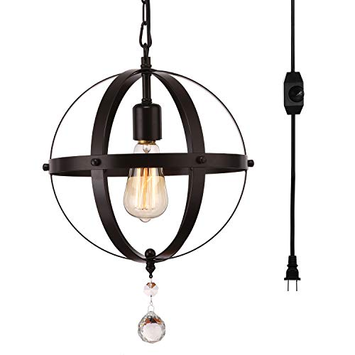 HMVPL Industrial Plug-in Spherical Pendant Lights with 16.4ft Hanging Cord and On/Off Dimmer Switch, Metal Chandelier Orb Swag Ceiling Lighting Fixture for Kitchen Island Table Bedroom Entryway Foyer