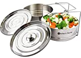 Stackable Stainless Steel Steamer Pressure Cooker Insert Pans for 5, 6, 8 Quart Instant Pot Accessories, For Baking and Steaming Rice, Vegetables, Meat - Bonus Lid Included By The Modern Home