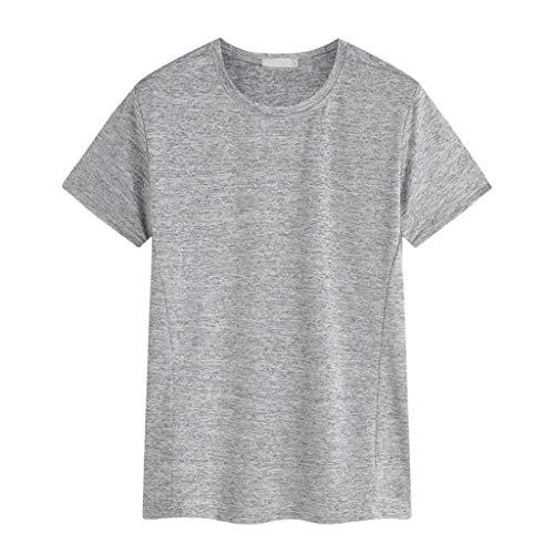 JJLIKER Men's Big & Tall Short Sleeve Crewneck Casual T-Shirt Outdoor Quick-Drying Sports Stretch Tops Dark Gray
