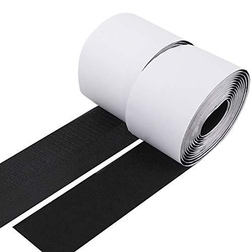 2'' Hook and Loop Tape 6.8 Yards (20.5ft) Self-Adhesive Strips Sticky Back Fastener, Black