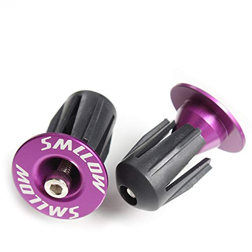 Alloy Handlebar End - Xeminor Nonslip Aluminum Alloy Mountain Road Bike Handlebar End Plugs Bar End Caps Bicycle Accessories(Purple) for Mountain Bike