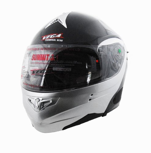 Vega Summit 3.1 2-Tone Modular Full Face Helmet (Gloss Black/Silver, Medium) (2 Helmet Summit Vega)