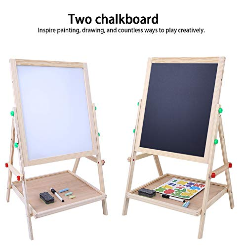 GOTOTOP Kid's Art Easel, 2 in 1 Deluxe Double Sided Children Easel with Accessorices, Educational Toys as for - Easel Deluxe Acrylic