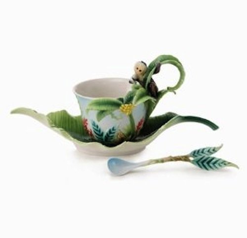 Franz Porcelain Jungle Fun Monkey Cup Saucer Spoon 02002