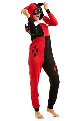 Joker Costumes Union Suit (DC Comics Harley Quinn Villain One Piece Women's Union Suit Onesie Pajama Costume Size 3X)
