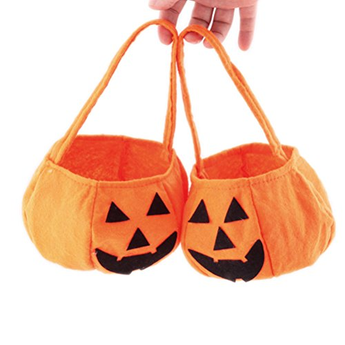 Halloween Pumpkin Goodie Bag with Handle Small Trick Or Treat Candy Bag, Pack of (Cheap Halloween Baskets)