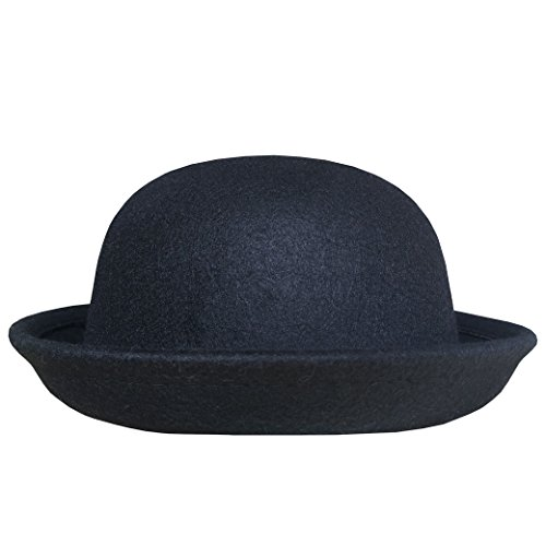 Lujuny Classic Wool Round Bowler Hats - Trendy Derby Fedora Bucket Caps with Roll-up Brim for Youth Petite (Black) ()